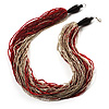 Chunky Multi-Strand Glass Bead Wood Necklace (Bright Red & Transparent/ White) - 58cm L