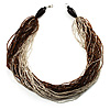 Chunky Multi-Strand Glass Bead Wood Necklace (Brown & Transparent/ White) - 58cm L