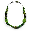 Light Green & Brown Wood Bead Necklace - 64cm