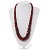 Long Red & Brown Button Wooden Bead Necklace