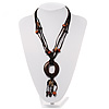 Wood 'O' Shaped Pendant Suede Black & Brown Cord Necklace - 50cm Length