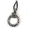 Skeleton Hand Leather Cord Gothic Pendant (Antique Silver)