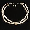 2 Strand Imitation Pearl Wedding Choker Necklace (Snow White, Silver Tone)