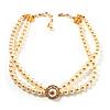 2 Strand Imitation Pearl Wedding Choker Necklace (Light Cream, Gold Tone)