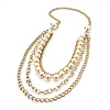 4 Strand Long Imitation Pearl Gold Plated Necklace -104cm Length