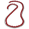 Long Red Plastic & Silver Metal Chain Necklace - 88cm Length