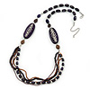 Long Handmade Style Deep Purple Wood, Glass Bead Necklace In Silver Tone Finish - 82cm Length/ 8cm Extension
