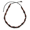 Unisex Brown/ Green, Red Wood Bead Necklace - 40cm Length