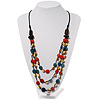 3 Strand Multicoloured Bead Leather Cord Necklace - 80cm