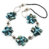 Light Blue Shell Floral Leather Cord Long Necklace -78cm Length