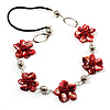 Red Shell Floral Leather Cord Long Necklace -78cm Length