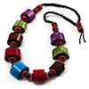 Multicoloured Chunky Wood Bead Cotton Cord Necklace - 62cm