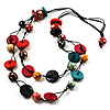 2 Strand Wood Bead Cotton Cord Necklace (Multicoloured) - 78cm