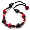 Black & Red Wood Bead Cord Necklace - 50cm
