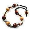 Light & Dark Brown Wood Bead Cord Necklace - 50cm