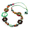 Multicoloured Floral Bead Cotton Cord Long Necklace -  74cm L