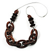 Chunky Wood Link Cord Necklace - 66cm Length