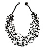 Black Nugget Multistrand Cotton Cord Necklace - 58cm L