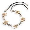 Delicate White Shell Floral Leather Cord Necklace - 62cm Length