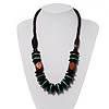 Chunky Beaded Necklace (Dark Brown & Green)