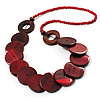 Chunky Wood Button & Bead Necklace - 70cm Length