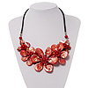 Stunning Brick Red Shell-Composite Leather Cord Necklace - 44cm Length