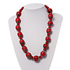 Cranberry Red Wood Necklace - 66cm Length