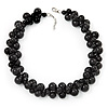 Black Polished Ceramic Bead Twisted Necklace (46cm L/ 6cm Ext)