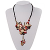 Shell-Composite Triple Flower With Tassel Leather Cord Necklace - 42cm Length