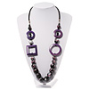 Long Purple Wood Bead Black Leather Style Cord Necklace - 74cm Length