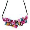 Stunning Hot Pink/Antique Yellow/Light Blue Shell-Composite Leather Cord Necklace - 44cm Length