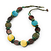 Button Shape Wood Olive Cotton Cord Necklace (Teal, Green, Brown & Yellow) - 62cm Length