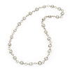 Transparent White Glass Bead Necklace In Silver Plated Metal - 72cm Length