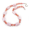 Light Pink Glass & Crystal Necklace (Silver Tone Finish) - 44cm Length (4cm Extender)