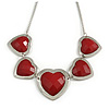 5 Red Graduated Acrylic Heart Necklace (Silver Tone) - 32cm Length (7cm Extender)