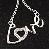 Rhodium Plated 'Love' Necklace - 38cm Length