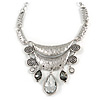 Silver Tone Hammered Diamante Bib Style Necklace - 38cm Length