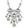 Silver Plated Turquoise Bead Bib Choker Necklace - 36cm Length