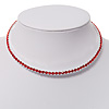 Thin Austrian Crystal Choker Necklace (Hot Red)