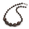 Black/Brown/White Graduated Glass Bead Necklace - 50cm Length