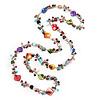 Multicoloured Shell & Imitation Pearl Bead Long Necklace - 114cm Length