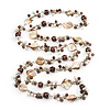 Antique White Shell & Brown Imitation Pearl Bead Long Necklace - 130cm Length