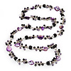 Purple Shell & Black Imitation Pearl Bead Long Necklace - 140cm Length