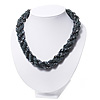 Pewter Glass Bead Twisted Choker Necklace - 40cm Length