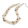 8-Strand Twisted Transparent Glass & Shell Bits Choker Necklace In Silver Plated Metal - 42cm Length (6cm extender)