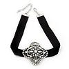 Black Velour Ribbon Diamante Filigree Cross Choker In Silver Tone Metal - 29cm Length (7cm extension)
