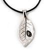 Large Silver Plated 'Leaf' Pendant On Leather Cord - 40cm Length (7cm extender)