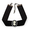 Black Velour Ribbon Simulated Pearl 'Cameo' Choker Necklace - 30cm Length & 8cm Extension
