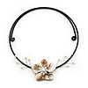Antique White Shell Flower On Flex Wire Choker Necklace - Adjustable