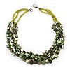 3 Strand Green Shell Composite Necklace - 44cm Length
